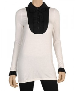 long sleeve tuxedo top
