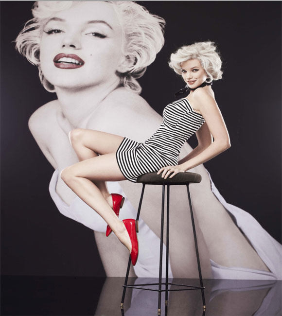 Marilyn Monroe black and white striped dress