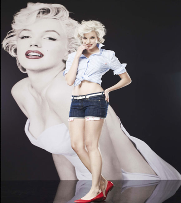 Marilyn Monroe button down tie shirt and shorts