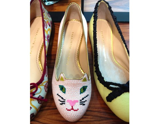 kitty embroidered flats
