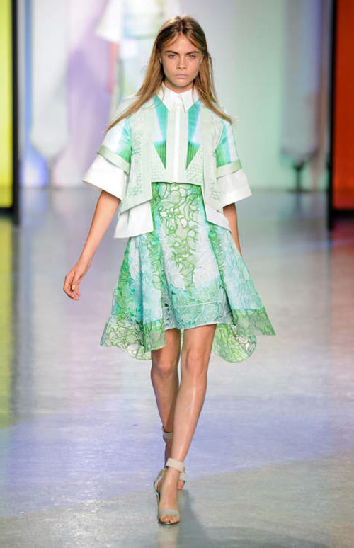 [A look from PETER PILOTTO's Spring 2014 collection, Image via ELLE.com]