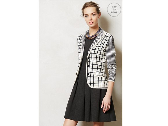 Anthropologie Windowpane Sweater Jacket