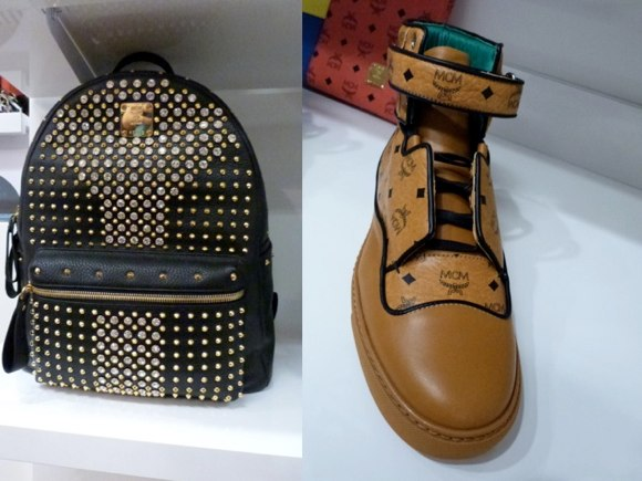 mcm bookbag and sneaker