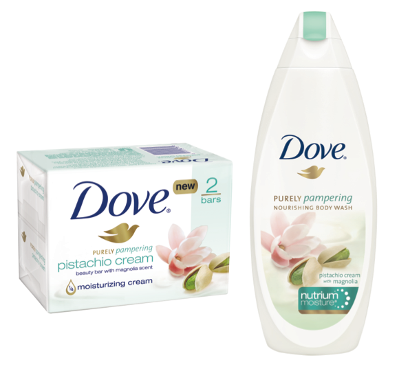 Dove pisatchio cream with magnolia scent body wash and bar