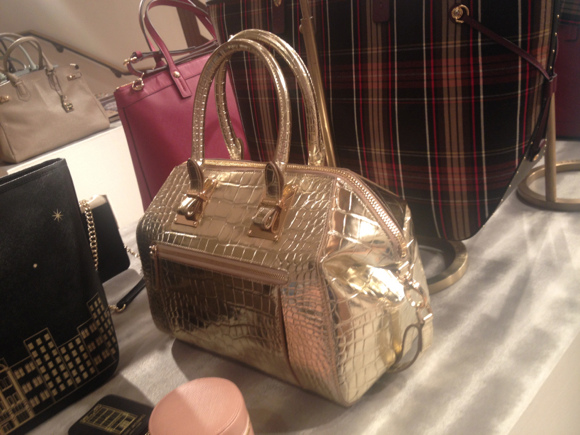 henri bendel gold croc bag