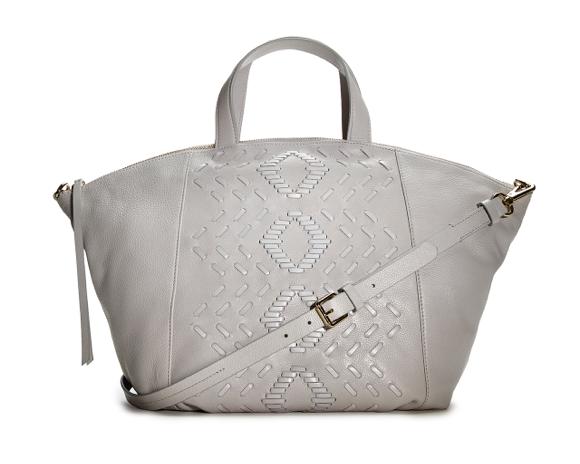 Light Grey Handbag with Woven Design TJ