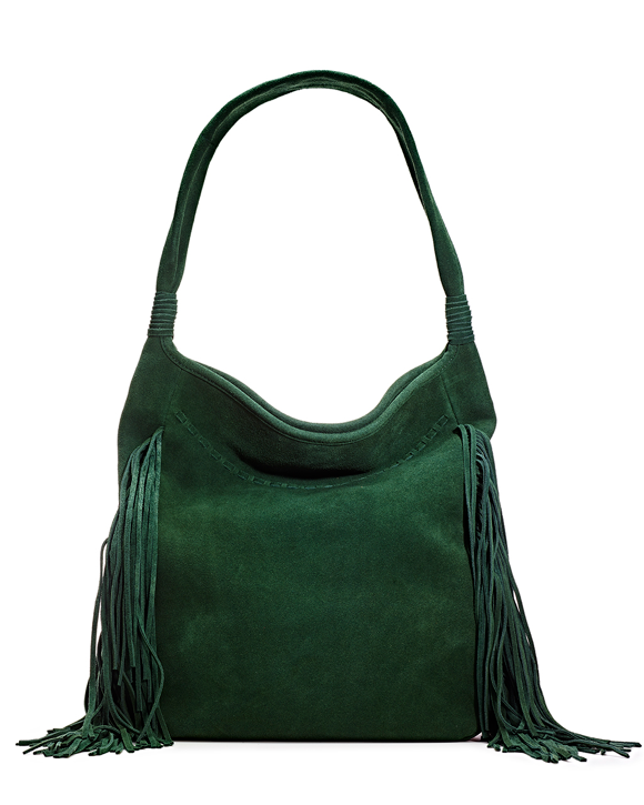 Green Suede Fringe Bag MA