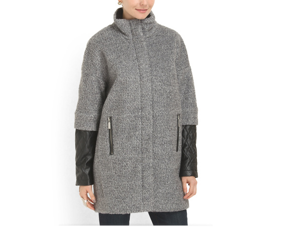 [Vince Camuto Tonal Quilted Sleeve Coat, $99.99, T.J.Maxx]