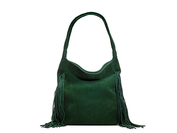 Green Suede Fringe Bag