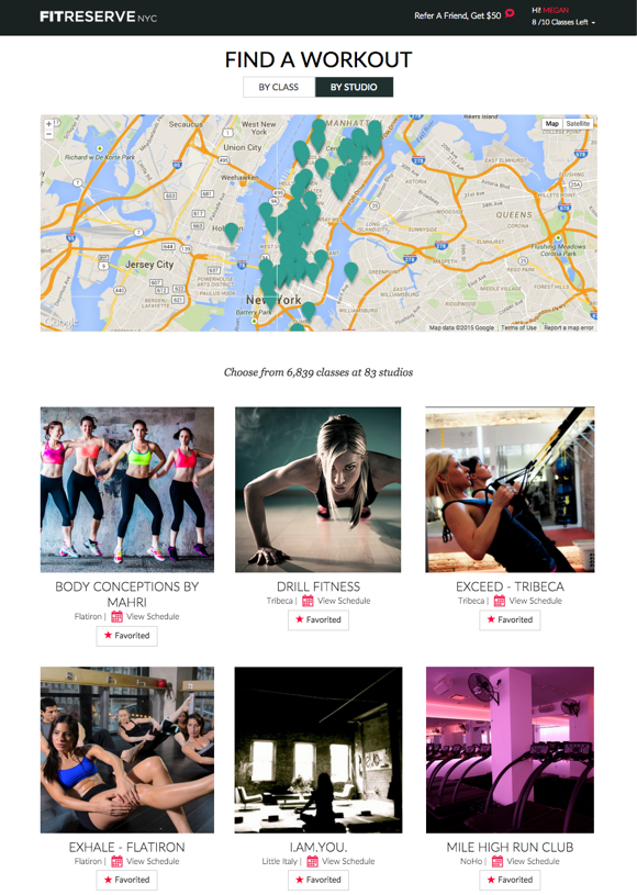 FitReserve Studio Page