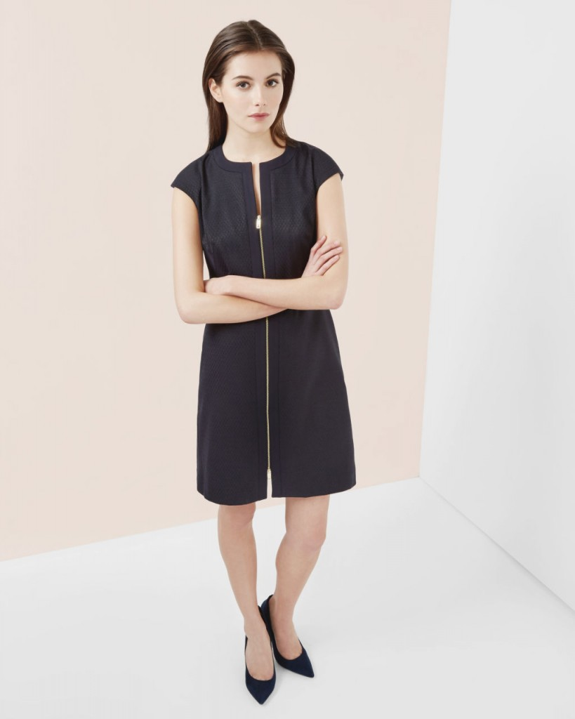 Reikod Textured Zip Front Midi Dress