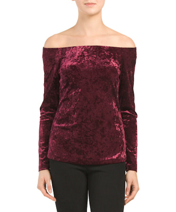 Tjmaxx A. Moss Crushed Velvet Off the Shoulder Top