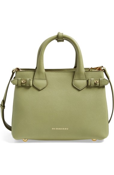 Burberry Small Banner Leather Tote in Pale Pistachio Green