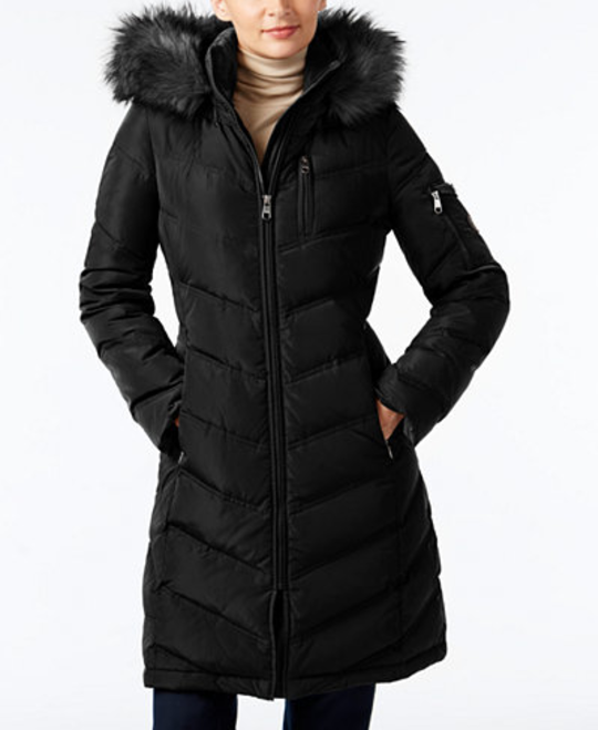 Calvin Klein Faux Fur Trim Down Puffer Coat