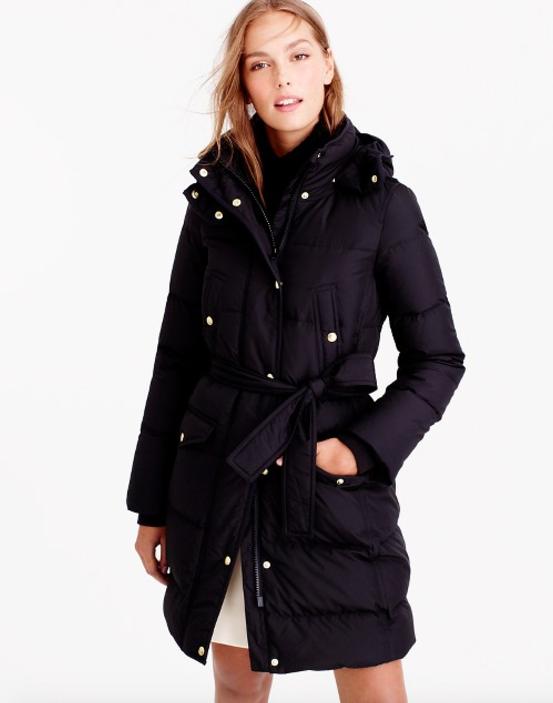 J Crew Wintress Belted Puffer Coat