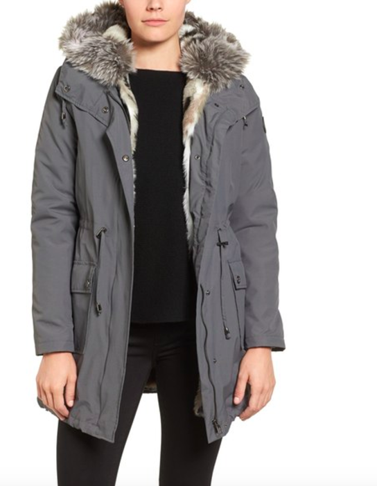Steve Madden Taslon Parka With Faux Fur Trim Hood