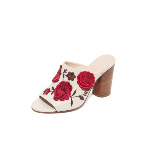 club monaco flower mules