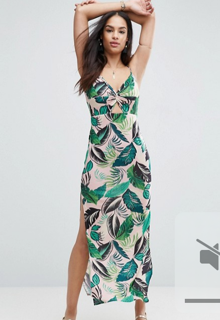 Asos Pink Palm Print Maxi Dress