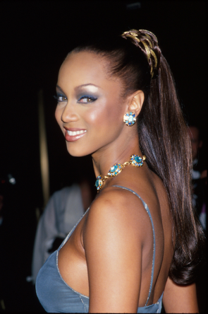Blue Eye Shadow on Tyra Banks