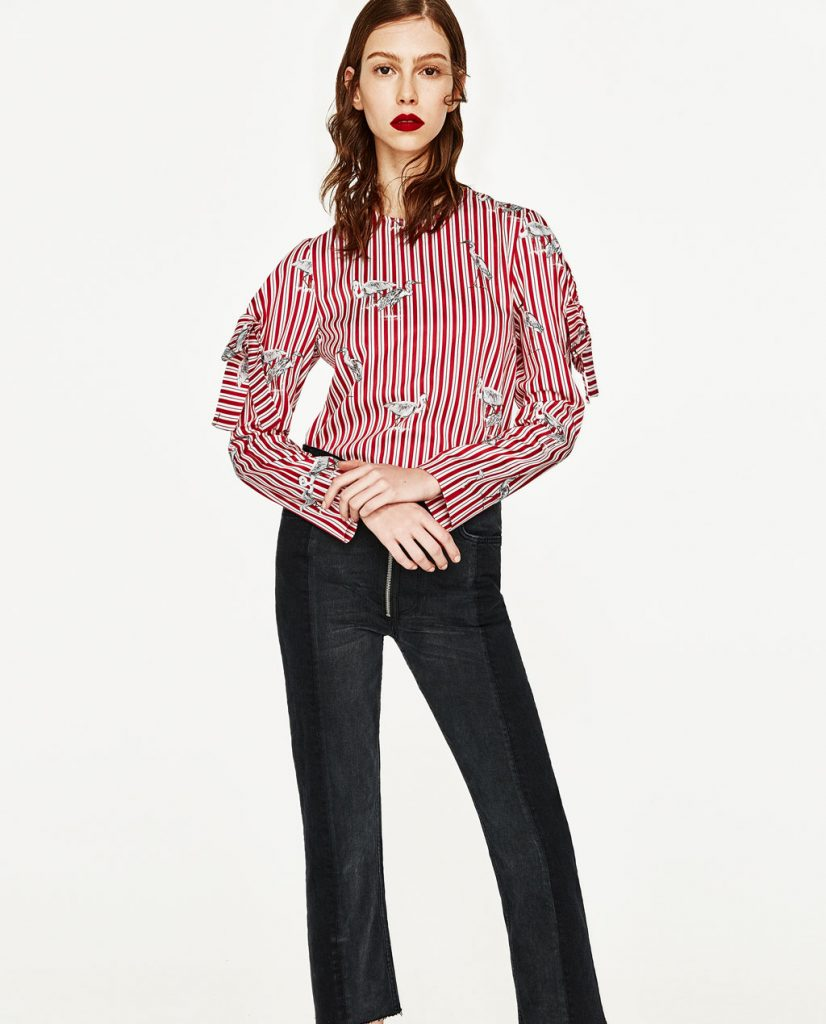 Zara Printed Top with Bow Sleeves