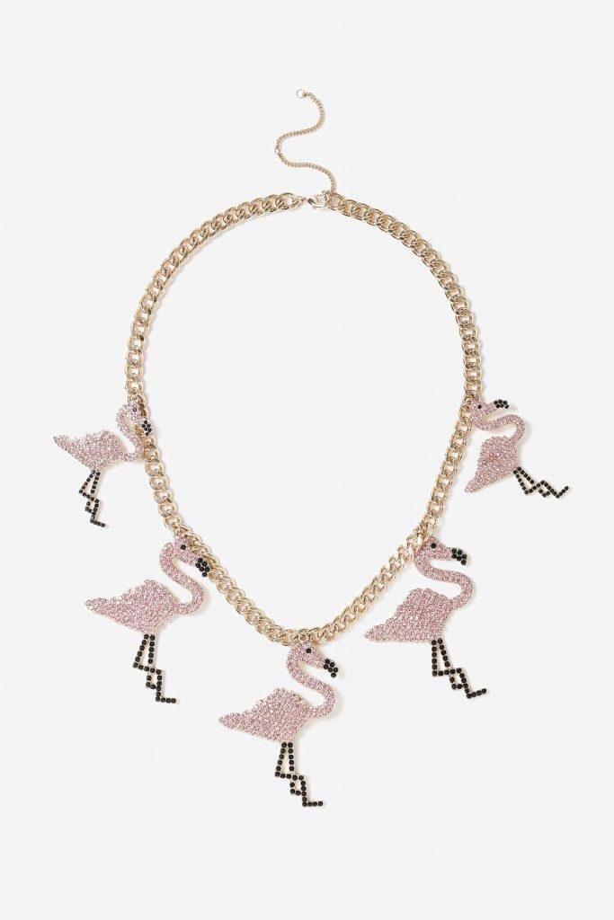 TOPSHOP Rainbow Flamingo Collar Necklace