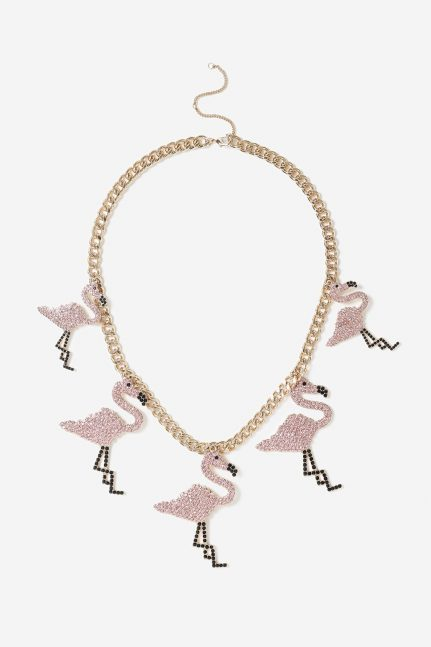 TOPSHOP Rainbow Flamingo Collar Necklace