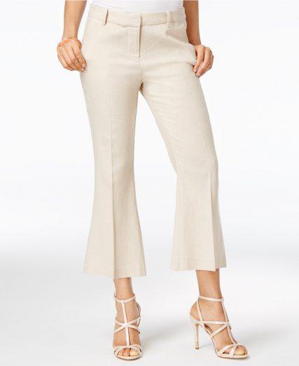 Macys Natalie Linen Cropped Flare Pants