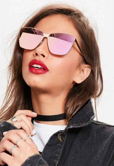 Missguided Rose Gold Cat Eye Mirrored Sunglasses
